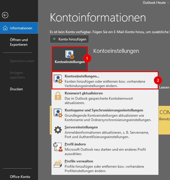 Klickpfad Outlook 2016 POP anlegen